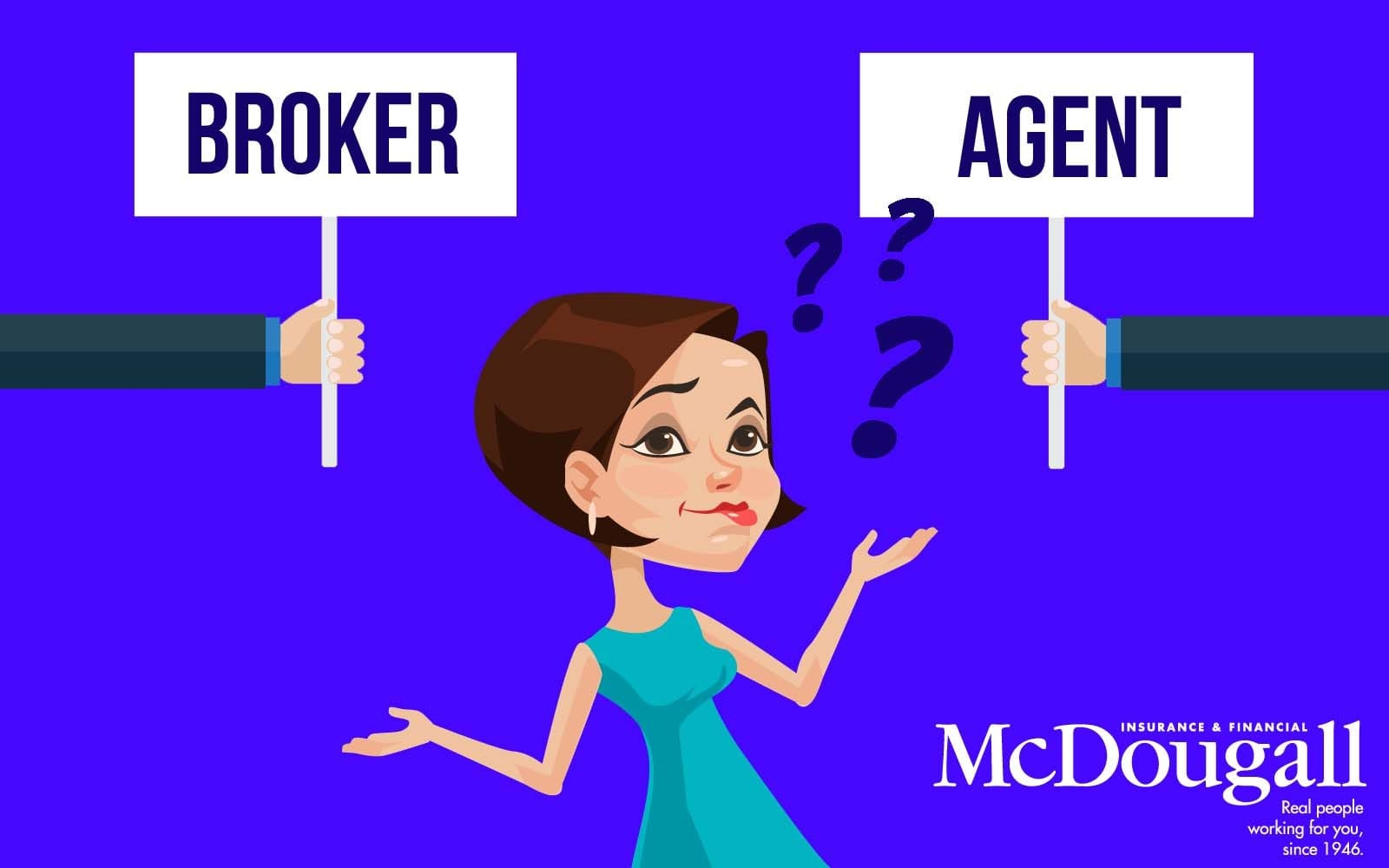caricature of person looking at signs that says broker and agent