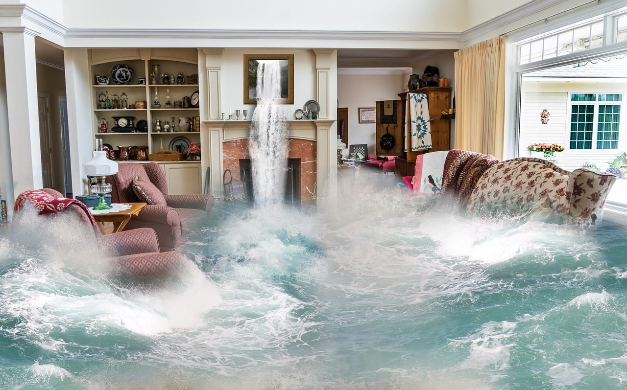 Living room flooded with water and flowing rapidly