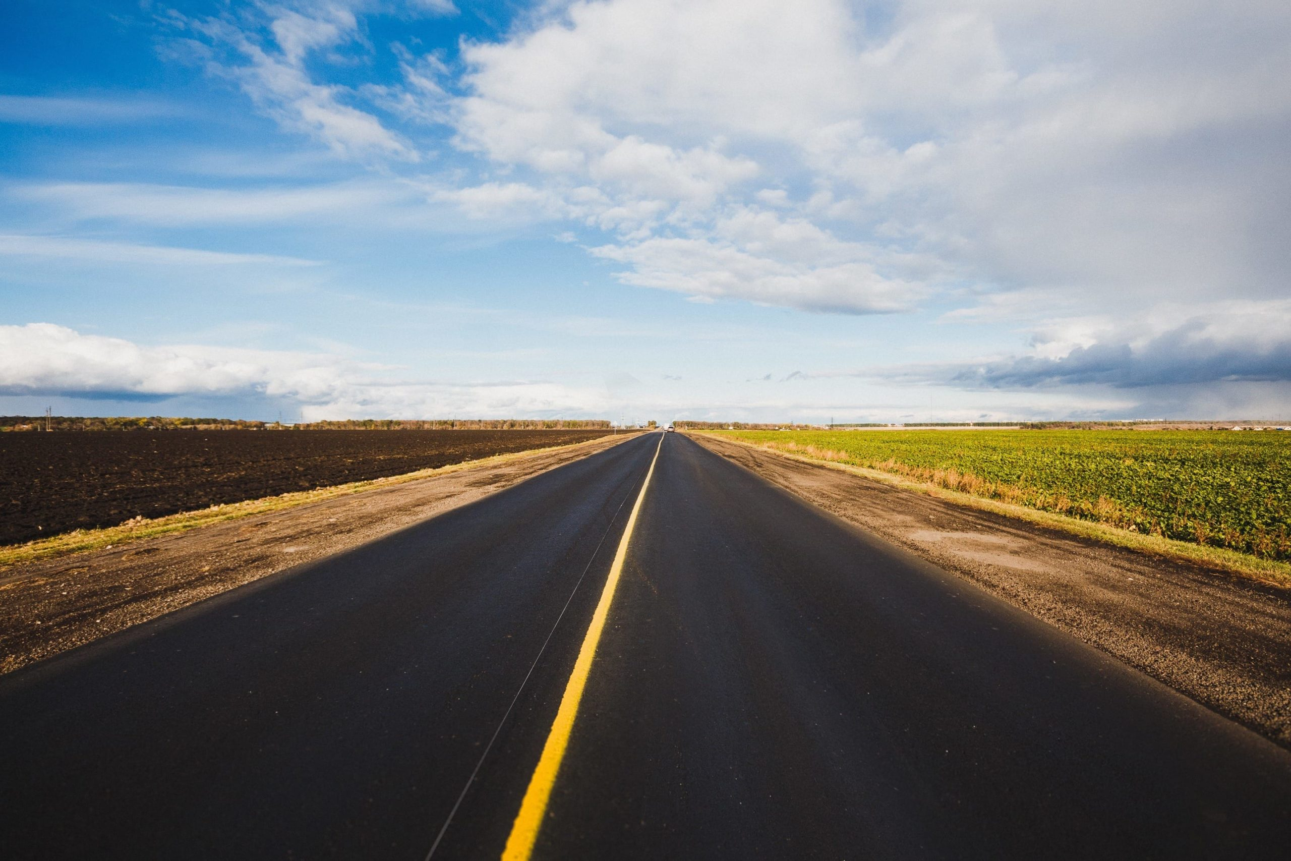 open road with no vehicles